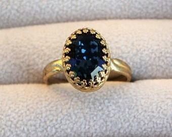 Deep Blue Ring, Crown Set Swarovski Crystal Ring, Denim Blue and Gold Ring, Adjustable Ring