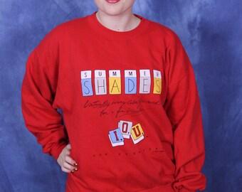 Vintage 80s I.O.U. Sweatshirt // 1987 Red Sweatshirt // Summer Shades Vacation Color // World Class