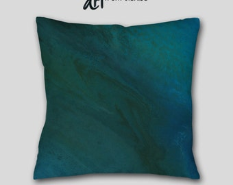 Turquoise blue throw pillow, Teal brown aqua toss pillow, Bedroom decor, Abstract art, Home decor, Pillow Cover Case, Sofa cushion Couch