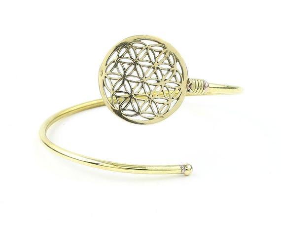 Flower Of Life Brass Bracelet, Bangle, LowerArm Cuff, Boho, Bohemian, Gypsy, Festival Jewelry, Sacred Geometry