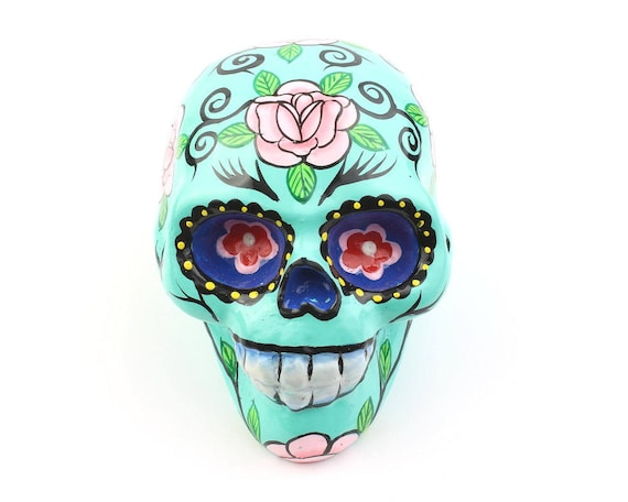 Turquoise Sugar Skull Decor, Hand Painted Skull, Mexican Sugar Skull, Home Decor, Day of the Dead, Decorative Skull