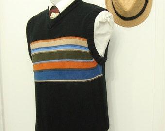 Vintage Sweater Horizontal Stripe Ultra Cotton Vest Waistcoat / Mens Black Orange Blue Cream Sweater Country vest / Size 40 / M / Medium