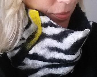 Zebra collar, Infinity scarf.