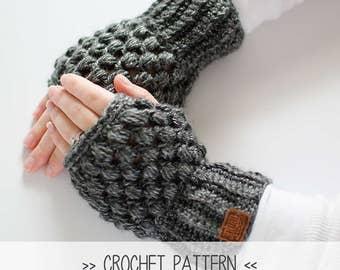 CROCHET PATTERN | Puff Stitch Wrist Warmers | Crochet Fingerless Gloves | Texting Gloves | Mittens