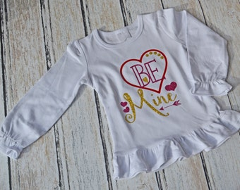 Valentines Shirt Be Mine Heart Kids Valentines Girls Valentines Trendy Baby Clothes Cute Valentine Shirt Valentines Outfit Long Sleeved