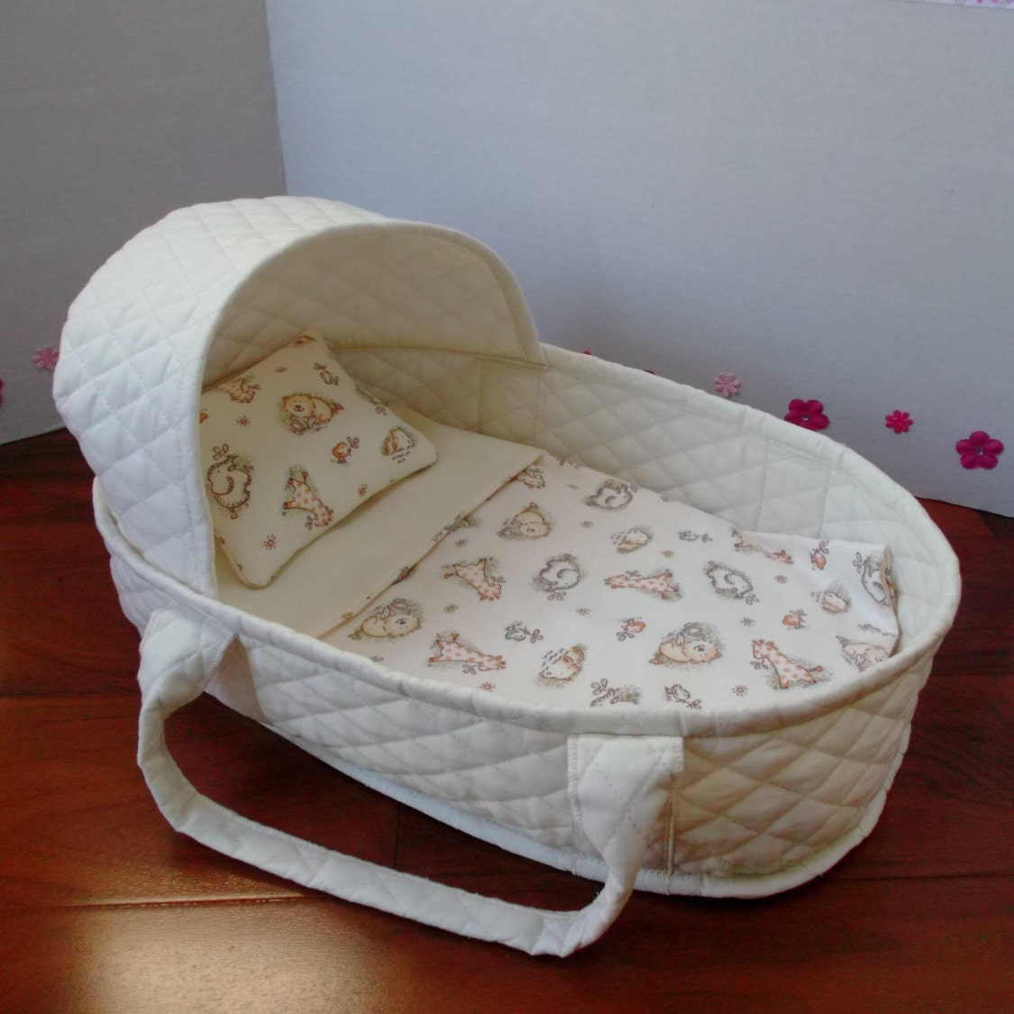 17 Inch Doll Moses Basket Doll Carrier Quilted Cotton Doll