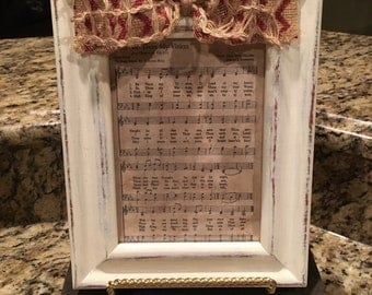 Hymnal Frame-Framed Hymn-Shabby Chic Decor-Hymnal Craft-Vintage Hymn-Distressed Picture Frame