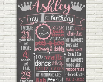 "Girls First Birthday Chalkboard Sign 16x20"" Poster Princess Crowns Pink Silver or *Choose Your Own Colors* Digital File ONLY"