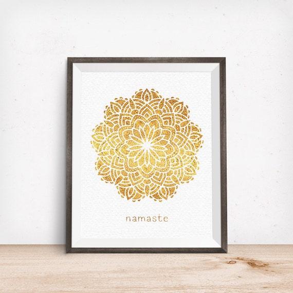 Printable Art, Namaste, Gold Mandala, Hindu Print, Zen Decor, Spiritual Symbol, Digital Download Print, Digital Art Printable, Motivational