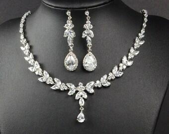 Bridal Jewelry SET Crystal Wedding Jewelry Rose gold Bracelet rose Gold Bridal Earrings necklace Bridesmaid Jewelry SET