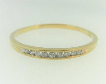 Slim Diamond Wedding Band- 14k Yellow Gold