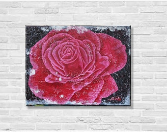 Original Modern Acrylic Structure Painting - Rose - 30x40 cm
