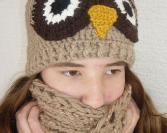 Crochet owl winter hat, owl hat for child or adult