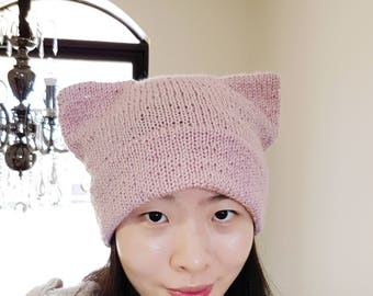 Double Brim Cat Beanie in Starlight Pink  -- Glitter Beanie