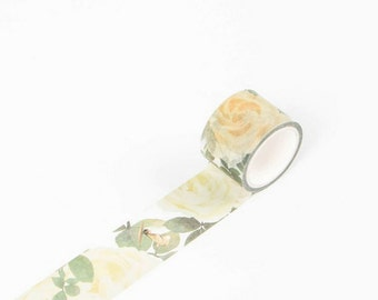 Pure White Roses Japanese Washi Tape, Masking Tape, Planner Stickers, Decorative Stickers - WT348