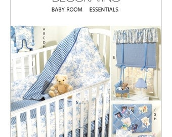 Sewing Pattern for Baby's Nursery, McCall's 4328, Baby Room Essentials, Crib Quilt & Accessories, Window, Basket Liners, Diaper Stacker, etc