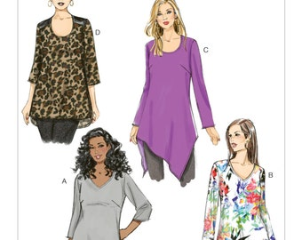 Sewing Pattern for Women's Asymmetrical-Hem Tunics, Butterick Pattern 6263, Womens Plus Sizes, Hi Low Hem Tunic Top