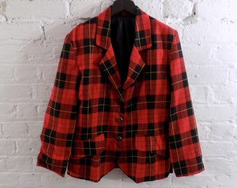 Vintage Plaid Tartan Red Blazer Jacket - UK 10 EU 38 US 6