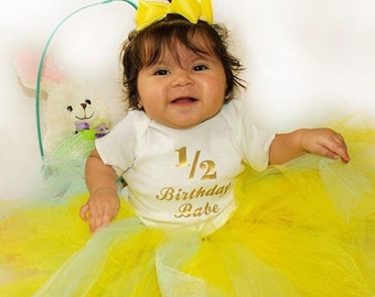 1/2 Birthday Babe Onesie with Gold letters or other color available