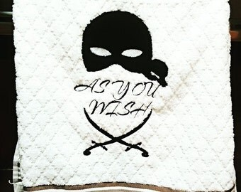 As You Wish Dread Pirate Roberts Inspired Embroidered Hand Towel