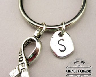 Hope Ribbon Keychain, Hope Keychain, Cancer Ribbon, Charm Keychain, Initial Charm, Silver Plated, Personalized Keychain, Monogram, CSY019