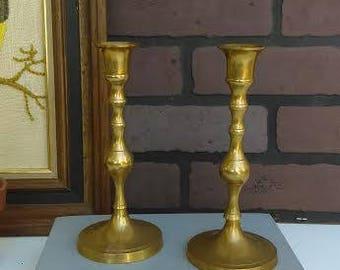 Pair Brass Candle Stick Holders, FREE Shipping, Nostalgic Finds, Spiral Design, Centerpiece Decor, Wedding Table Decor