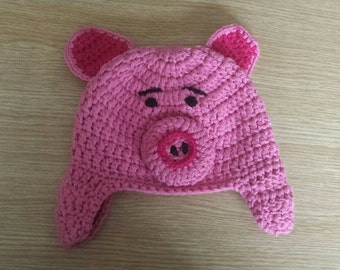 Baby hat, animal hat, crochet hat, pink pig, crochet, piggy, hat, pink, crochet baby hat, baby shower gift, baby girl hat, photo prop hat,