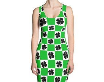 St. Patricks Day Dress - Saint Patricks Day Dress - Saint Paddys Day - Clover Dress - Green Checkered Dress - Irish Dress