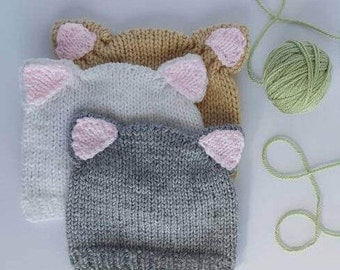 Kitten Hat. MADE TO ORDER. 6 Colours. Newborn to Sitter Size Photo Prop. Kitten Beanie. Baby Cat Hat. Kitty Cat Hat. Kitty Cat Beanie. Meow!