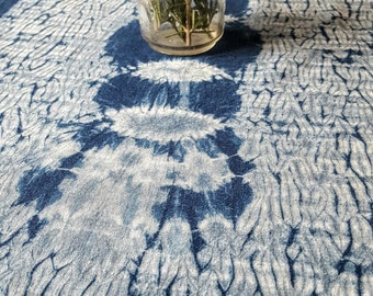 Indigo Table Linen ~ Shibori Art on 100% Hemp fabric OOAK