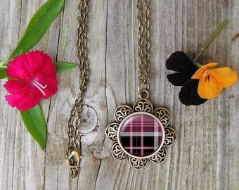 Plaid Necklace, Glass Dome Pendant Necklace