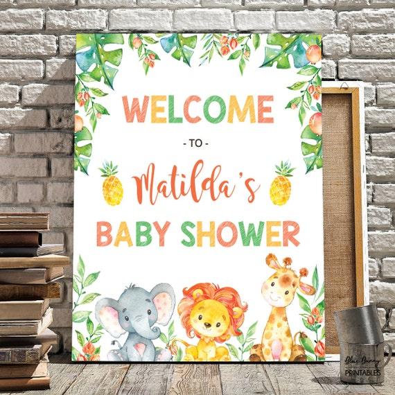 jungle baby shower welcome sign safari baby shower decor jungle