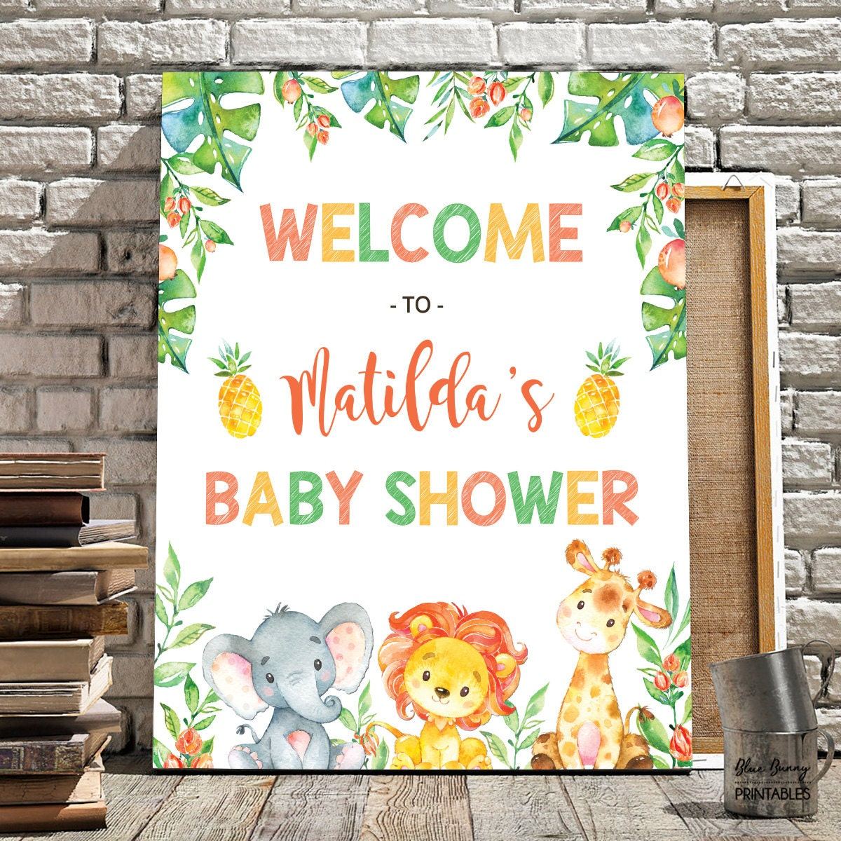 jungle baby shower welcome sign safari baby shower decor