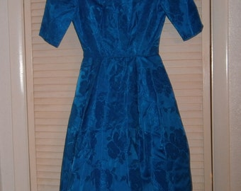 Royal Blue Brocade Dress Small