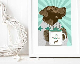 Mint green home decor, Kitchen wall art quotes, choc lab art print, chocolate Labrador retriever print illustration gift ideas for lab owner