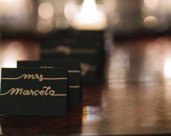 wedding place cards/ hand-lettered card-stock