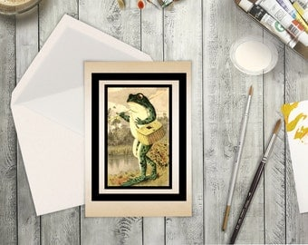 High Resolution Card Digital Download Vintage Toad with Fishing Pole. Blank or Greeting Card of Frog Fisherman. Perfect for loves to fish.