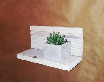 Floating wall display reclaimed wood shelf-home and living-storage & organization-shelving-rustic modern shelf-shelving-wall plant shelves