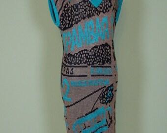 80s dress / knit dress / gold glitter / size S /  turquoise / vintage / long dress
