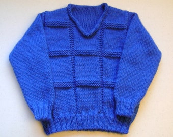 Brilliant Boy's Royal Blue Sweater/3 yrs/ Attractive Textured Pattern and Roll Neck/Handknitted