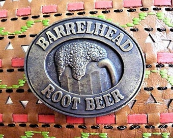 Barrelhead Root Beer Belt Buckle ..  Vintage Metal Advertising Souvenir .. Old Fashioned Flavor
