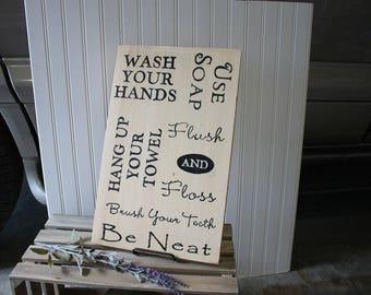 Bathroom rules sign bathroom rules signs bathroom rules bathroom sign bathroom signs wood bathroom signs bathroom decor Rustic Sign