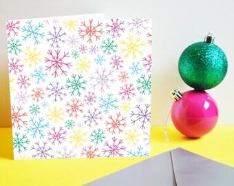 Rainbow Snowflakes card. Christmas card, Xmas card, Seasons Greetings, Snowflakes, Rainbow, Colourful card