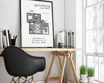 Seinfeld poster etsy Seinfeld apartment floor plan