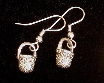 Basket Earrings 24 Karat Gold Plate  or Oxidized Matte Silver Baskets Weaver Gift Round Shape Longaberger Last Pair in Gold EG129/ES078
