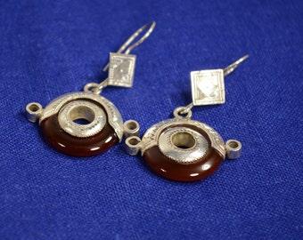 Tuareg Tchi'mitdaï earrings - Silver and Cornelian