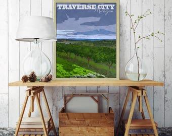 Traverse City Michigan, Vintage Poster Canvas, Michigan Tourism, Traverse City Michigan Poster, Vintage Wall Decor, Vintage Wall Art