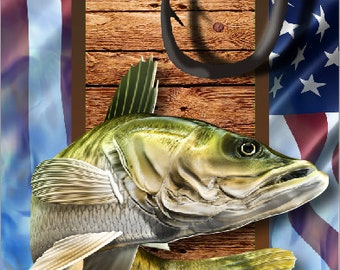 Walleye Fish Hooks American Flag LAMINATED Cornhole Wrap Bag Toss Decal Baggo Skin Sticker Wraps