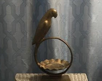 Vintage Brass Parrot and Dish