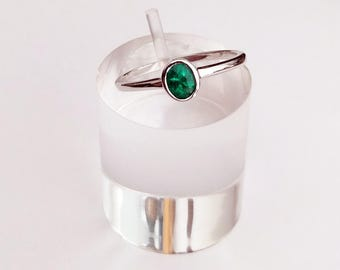 Unique sterling silver ring made with a breathtakingly beautiful Columbian emerald from Muzo